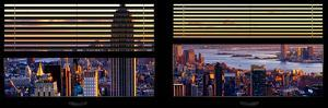 Window View with Venetian Blinds: Panoramic Skyline of Manhattan at Sunset by Philippe Hugonnard