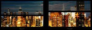 Window View with Venetian Blinds: Panoramic View - 42nd Street and Times Square at Night by Philippe Hugonnard