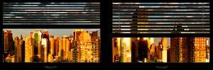 Window View with Venetian Blinds: Panoramic View - 42nd Street and Times Square at Sunset by Philippe Hugonnard