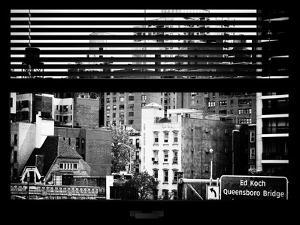 Window View with Venetian Blinds: Queensboro Bridge Sign by Philippe Hugonnard