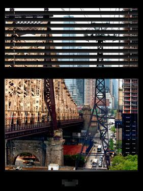 Window View with Venetian Blinds: Roosevelt Island Tram and Ed Koch Queensboro Bridge by Philippe Hugonnard