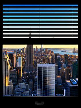 Window View with Venetian Blinds: Skyline NYC with the Empire State Building and 1WTC at Sunset by Philippe Hugonnard