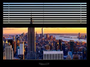 Window View with Venetian Blinds: Skyline of Manhattan at Sunset by Philippe Hugonnard
