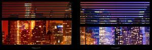 Window View with Venetian Blinds: Skyscrapers and Buildings at Times Square by Night by Philippe Hugonnard