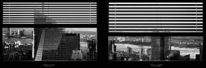 Window View with Venetian Blinds: Skyscrapers View of Manhattan at Nightfall by Philippe Hugonnard