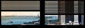 Window View with Venetian Blinds: South Street Seaport View with Statue of Liberty by Philippe Hugonnard
