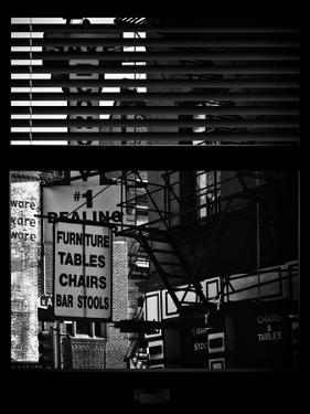 Window View with Venetian Blinds: Street View - Old Wall Commecial Advertisements with Fire Escape by Philippe Hugonnard
