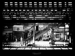 Window View with Venetian Blinds: Subway Station View of Williamsburg - Brooklyn by Philippe Hugonnard