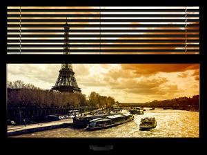 Window View with Venetian Blinds: the Eiffel Tower and Seine River Views at Sunset - Paris, France by Philippe Hugonnard