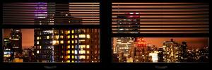Window View with Venetian Blinds: the Empire State Building lit up in Pink and Red by Philippe Hugonnard