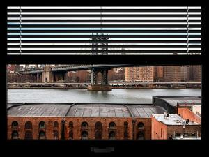 Window View with Venetian Blinds: the Manhattan Bridge with the Empire State Building by Philippe Hugonnard