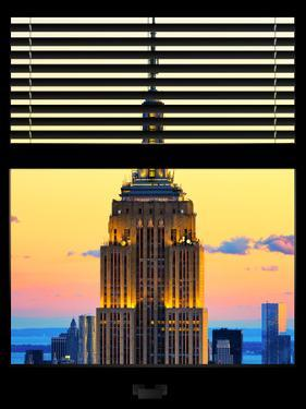 Window View with Venetian Blinds: Tops of the Empire State Building at Sunset - New York by Philippe Hugonnard