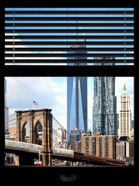 Window View with Venetian Blinds: Vertical Format of NYC Center and Brooklyn Bridge - Manhattan by Philippe Hugonnard