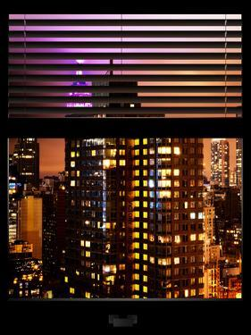 Window View with Venetian Blinds: Vertical Format -The Empire State Building lit up in Pink by Philippe Hugonnard