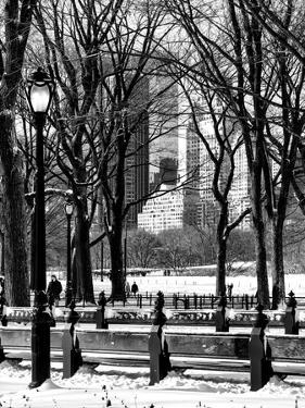 Winter Snow with Street Lamp in Central Park View by Philippe Hugonnard