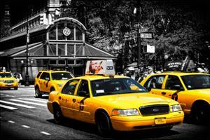 Yellow Cabs, 72nd Street, IRT Broadway Subway Station, Upper West Side of Manhattan, New York by Philippe Hugonnard