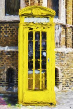 Yellow Phone Booth - In the Style of Oil Painting by Philippe Hugonnard