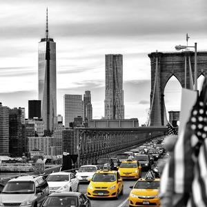 Yellow Taxi on Brooklyn Bridge Overlooking the One World Trade Center (1WTC) by Philippe Hugonnard