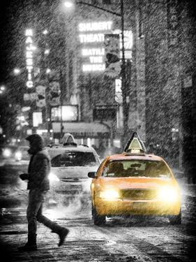 Yellow Taxis at Times Square during a Snowstorm by Night by Philippe Hugonnard