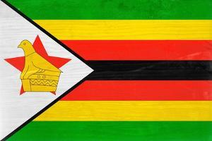 Zimbabwe Flag Design with Wood Patterning - Flags of the World Series by Philippe Hugonnard