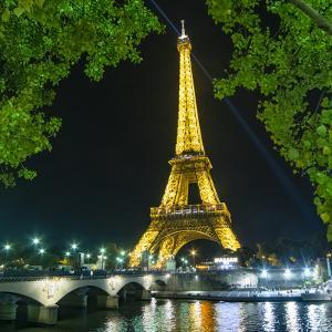 Eiffel Tower and Bridge at Night by Philippe Manguin