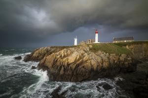 Pointe Saint Mathieu lighthouse  stormy time by Philippe Manguin