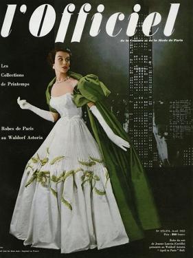 L'Officiel, April 1953 - Robe du Soir de Jean Lanvin (Castillo) by Philippe Pottier