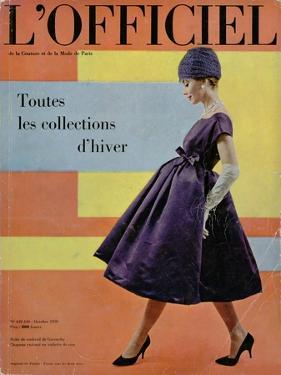 L'Officiel, October 1958 - Robe de Cocktail de Givenchy, Chapeau Exécuté en Voilette de Soie by Philippe Pottier
