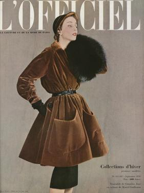 L'Officiel, September 1950 - Ensemble de Christian Dior en Velours de Marcel Guillemin by Philippe Pottier