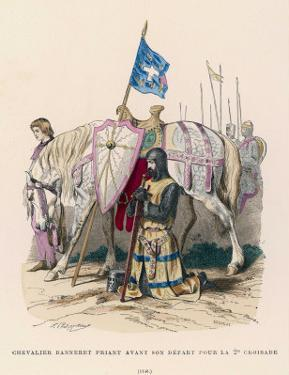 French Chevalier Banneret (Horseman Carrying a Banner) Prays Before Leaving for the Second Crusade by Philippoteaux