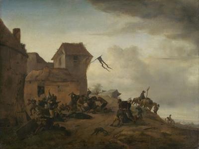 Fighting Peasants Near a Village