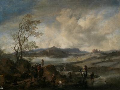 Partida De Cetrería Entrando En Un Río, 1655-1658