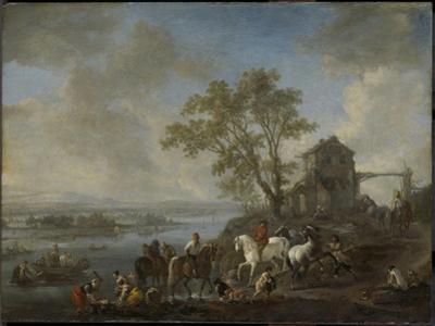 Watering Horses at a River