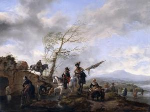 An Extensive River Landscape with Soldiers and a Standard Bearer Watering their Horses by Philips Wouwermans