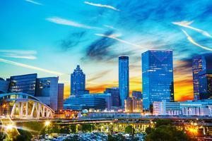 Downtown Atlanta at Night Time by photo ua