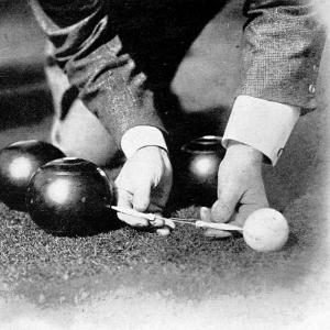 Photograph Showing the Measuring from a 'Jack' During a Game of Bowls, Britain, 1903