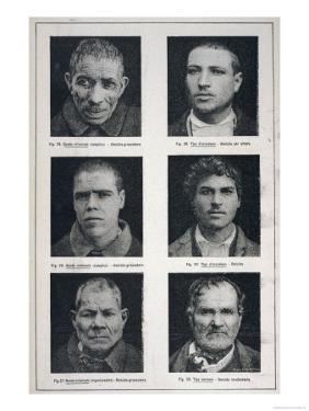Photographs of Murderers Whose Criminal Nature Lombroso Believed is Revealed in Their Physiognomy