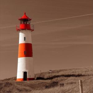 Red & White Lighthouse by PhotoINC Studio