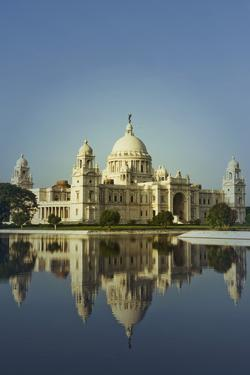 Reflection of a Museum in Water, Victoria Memorial, Kolkata, West Bengal, India by photosindia