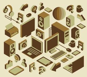 Isometric Media Element Set by photovs