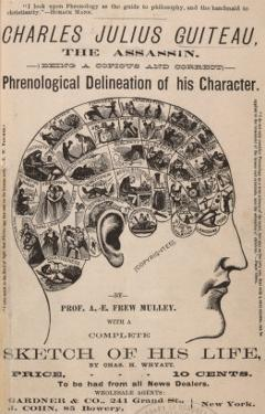 Phrenological Chart of the Brain of Charles J. Guiteau, Assassin of President James Garfield, 1880s