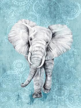 Blue Paisley Elephant by PI Creative Art