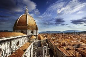 Piazza Del Duomo with Basilica of Saint Mary of the Flower, Florence, Italy
