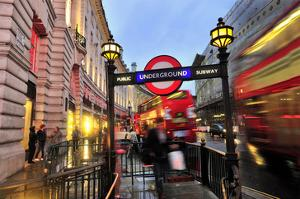 Piccadilly Circus Underground Station in Regent Street, London, South of England