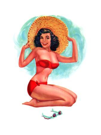 """""""3-D Feature"""" 1950s Pin-Up Calendar Girl by T. N. Thompson by Piddix"""