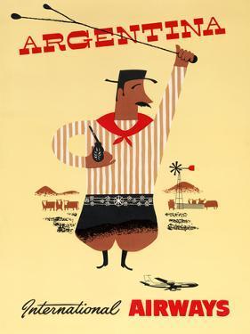 """""""Argentina"""" Vintage Travel Poster, International Airways by Piddix"""