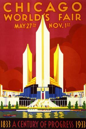 """""""Chicago World's Fair"""" Vintage Travel Poster, 1933 by Piddix"""