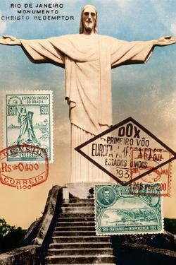 """Christ the Redeemer"" Brazil Vintage Postcard Collage by Piddix"