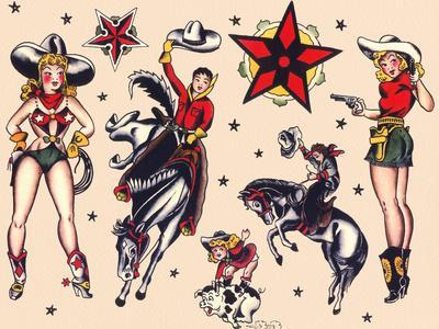 Cowboys & Cowgirls, Authentic Rodeo Tatooo Flash by Norman Collins, aka, Sailor Jerry