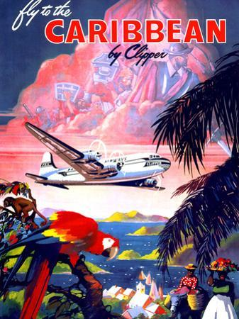 """""""Fly to the Caribbean by Clipper"""" Vintage Travel Poster"""